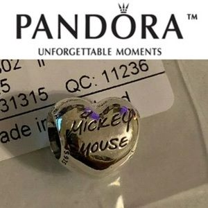 792132 Retired Pandora Signature Mickey Heart Bead